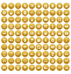 100 voyage icons set gold vector