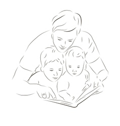Father and sons reading a book vector