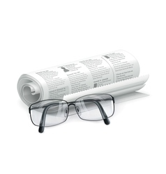Newspaper and glasses vector