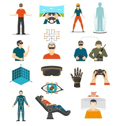 Virtual reality video games set vector