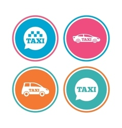Public transport icons Taxi speech bubble signs vector image