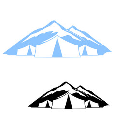 logo of the tent in the mountains vector image