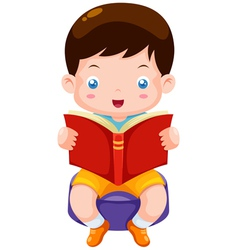 Boy reading book vector image