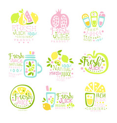 Natural fresh juice product set of logo templates vector