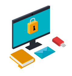 Technology security information usb folder email vector