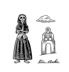Church and skeleton in mexican woman national vector