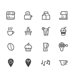 coffee cafe element black icon set on white bg vector image