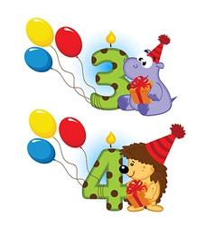 Third fourth birthday with animal vector