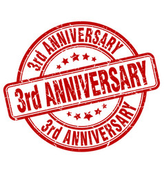 3rd anniversary red grunge stamp vector