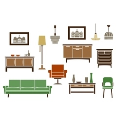 Household furniture and interior flat icons vector
