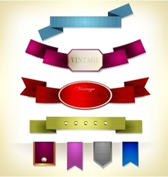 Set of retro ribbon vector