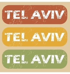 Vintage tel aviv stamp set vector