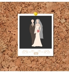 Corkboard with instant photo card with vector