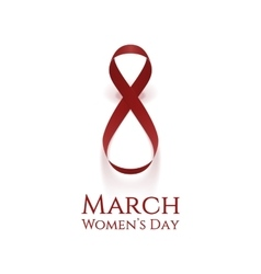 International womens day red realistic ribbon vector