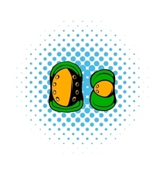 Paintball knee protection comics icon vector