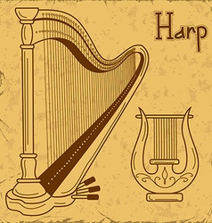 Isolated harp and lyre vector