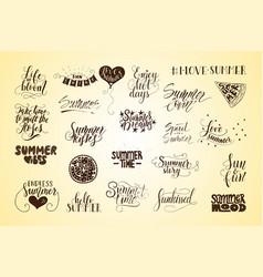 big bundle of 23 hand drawn summer quotes vector image