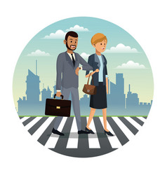 business couple walk street urban background vector image vector image