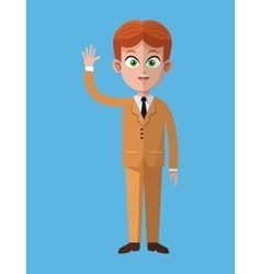 cartoon business man executive work vector image vector image