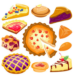 Cartoon cake pie isolated vector