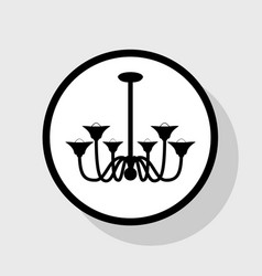 Chandelier simple sign flat black icon in vector