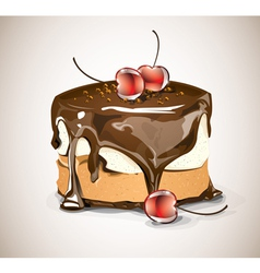 Chocolate cake with cherries vector