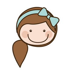 Color silhouette cartoon front face girl with side vector