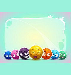 cute childish banner with funny characters vector image vector image