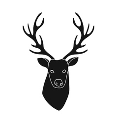 Deer head icon in black style isolated on white vector