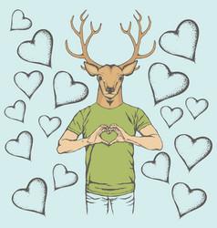 Deer valentine day concept vector