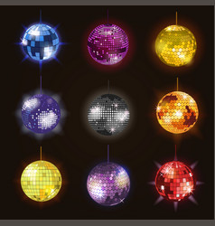 disco balls discotheque dance music party vector image vector image