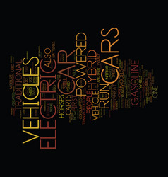 Electric hybrid vehicles text background word vector