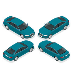Flat 3d isometric high quality city sedan car vector