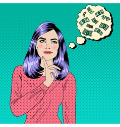 Girl Dreaming About Money Dreaming Woman vector image
