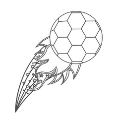 grayscale contour with olympic flame with soccer vector image vector image