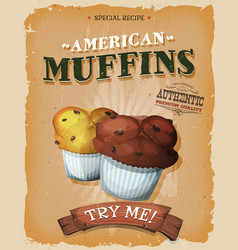 Grunge and vintage american muffins poster vector