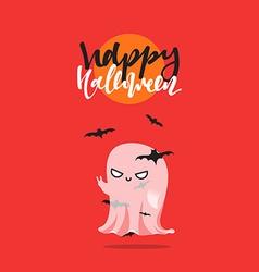 Halloween funny cartoon characters ghost vector image