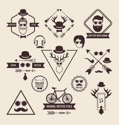 Hipsters badges templates with place for your text vector