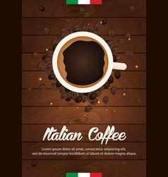 italian coffee banner coffee time cup grain vector image vector image