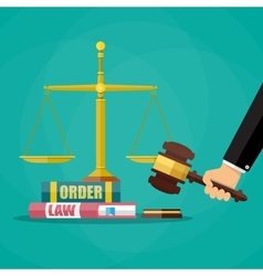 Judge gavel with law books and scales vector image vector image