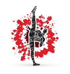 Kung fu karate high kick front view vector