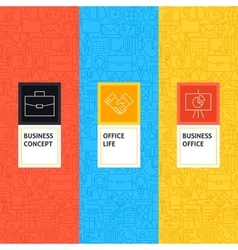 Line Business Office Patterns Set vector image