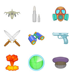 military matter icons set cartoon style vector image