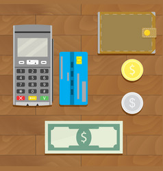Money cash and credit card vector
