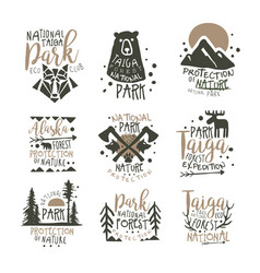 National park eco club labels set nature vector