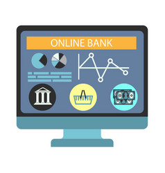 Online banking payment computer monitor vector