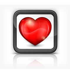 red heart button 10 v vector image