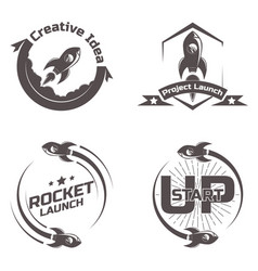 set logo space rocket ship vector image