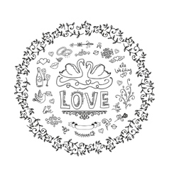 Set of wedding ornaments and decorative elements vector image