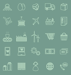 Supply chain line icons on green background vector
